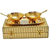 Varada Silver And Gold Plated Brass Bowl Tray With Spoon Set Of 5 Pcs.