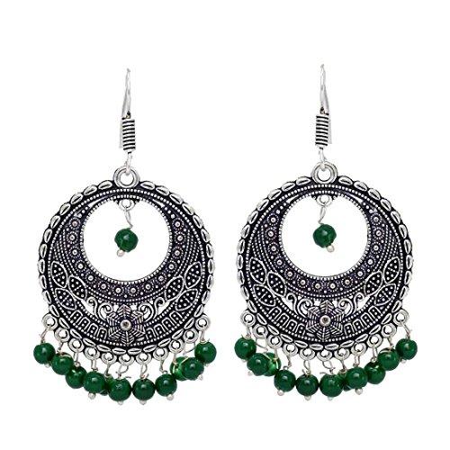 Fashion Honor 10.00 Grams Green Beaded Oxidised Silver Hoop Earrings Jewellery Gift...