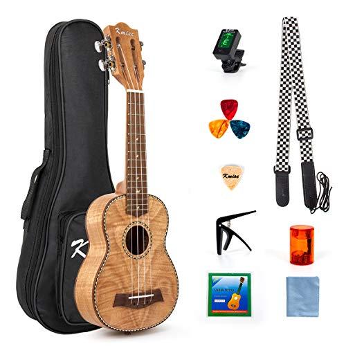 Ukulele in con kit per principianti, custodia Gig Bag, accordatore, tracolla, corda e metodo per imparare a suonare (lingua italiana non garantita) (Classico Okoume, Soprano 21'')
