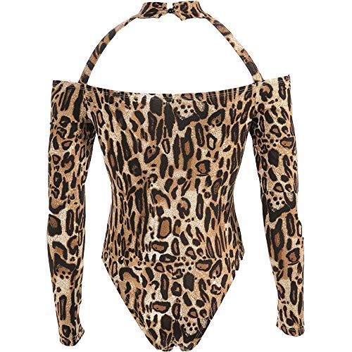 SIOPEW Mode Frauen Sexy Leopard Stehkragen Hohl Dünne Leopard Jumpsuit ()