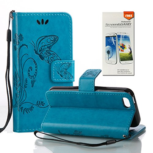 iPhone 5C Hülle, OuDu Prägung Muster Hülle Blumen Schmetterling Etui für iPhone 5C PU Leder Handyhülle Klapp Buch-Stil Ledertasche Einzigartige Entwurf Tasche Kompletter Schutzhülle Flip Wallet Case F Blau
