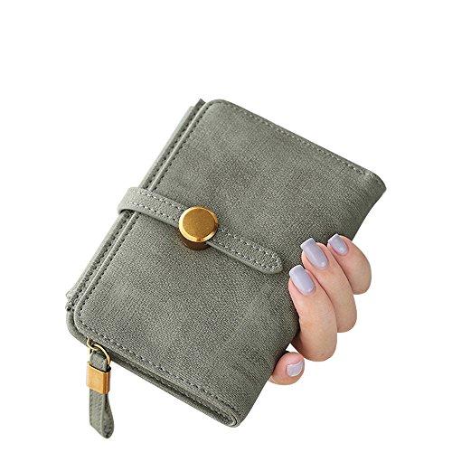 Woolala Cuoio Portafoglio Compatto Delle Donne Borsa Trifold Breve Tasca Coulisse Per Contanti, Carte, Cambio Titolare, Marina Verde