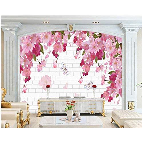Benutzerdefinierte Tapete-Rosa schöne Fantasie Kirsche-3D Backsteinmauer TV Hintergrund-Wand Wohnzimmer Schlafzimmer Wandbild-3D Tapete-400cm (B) x250cm (H) (13'1