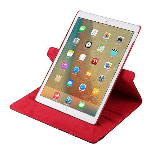 Hülle für iPad Mini 4 7.9 inch, TechCode 360 Grad Rotation Stand PU Ledertasche Schützende Flip Folio Abnehmbar Weiche Gummiabdeckung Hülle für Apple iPad Mini 4 7,9 Zoll (iPad Mini 4, Lila) Rot