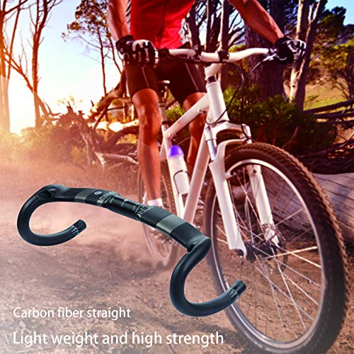 Yaoaomon Full Carbon Fiber Road Bicycle Handlebar Road Bike Handle Bar Cycling Parts Black 440mm (Fiber Carbon Bike Bars Road)
