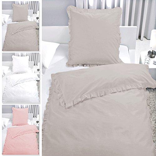 2-tlg. Bettwäsche Set Rüschen mit Reißverschluss aus 100% Baumwolle, Deckenbezug 135x200cm, Kissenbezug 80x80cm, Vintage-Stil (Taupe)