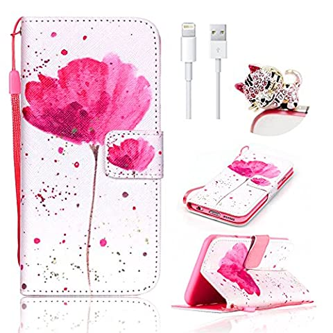 For iPhone SE Wallet Case-Vandot For iPhone SE 5S 5 Colorful Printing Pink Flower Petal Beautiful Scenery PU Leather Magnetic Closure Flip Stand Premium Cover+Anti Dust Plug+USB Data Line
