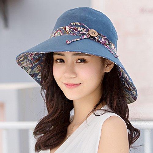 Ms.sole estivo cappelli cappuccio di protezione solare Tour Visor Estate Bambini coreano piegare grandi lungo (Signore Blu Visor)