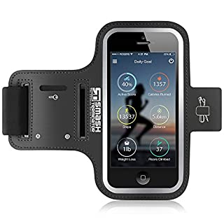 Samsung Galaxy S8+ Armband - Sport Running Armband Compatible with S7 Edge & J7 Prime - Extra Long Strap, Reflective Frame + Key/Card/Earphone Holders - Phone Holder for Running, Jogging, Cycling, Workout & Exercise - Sweat Proof High-Quality Neoprene (Black)
