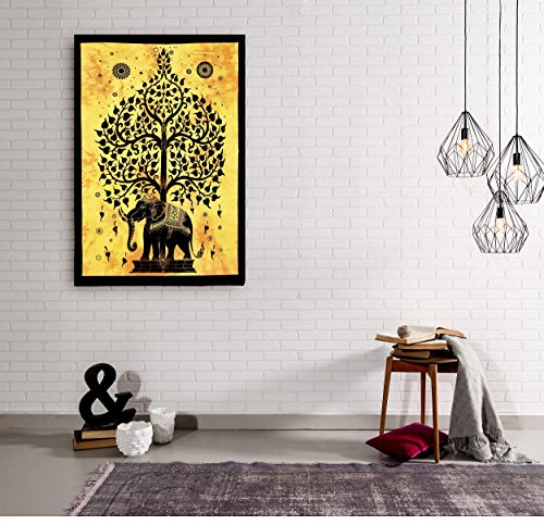 Yellow Elephant Tree Printed Tapestry Wall Decor Hanging Poster Office Home Decorative Party Hall Decor Hanging by Handicraft-Palace