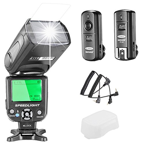 Neewer E-TTL Speedlite Blitz für Canon DSLR-Kamera, Set beinhaltet: 1 sNW-562Blitz, 1x 2,4GHz kabelloser Auslöser (1Sender + 1Empfänger),1x Mikrofasertuch (High-speed-kamera-blitz)