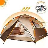 ZOMAKE Leichtes Camping Zelt für 2 3 4 Personen - Wasserdicht Pop Up Zelt (Braun)