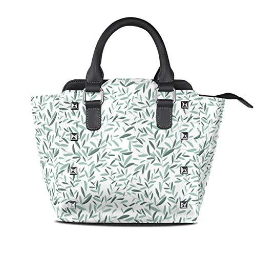Mode Salbei (HANILUC Abnehmbare mode trend damen handtasche umhängetasche umhängetasche,Salbei verlässt Sommerzeit-Garten-Druck)