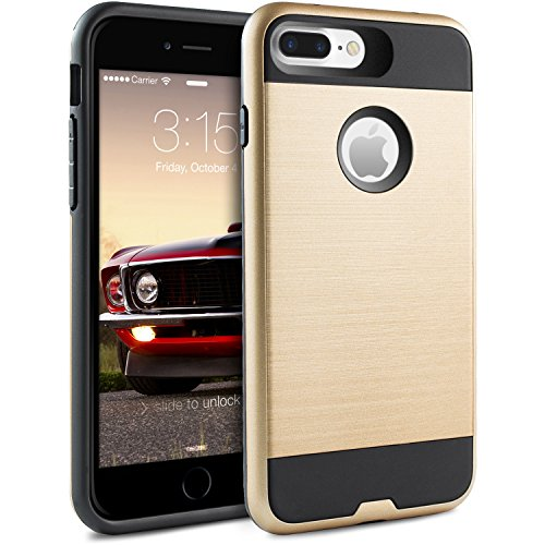 iPhone 7 Plus Hülle, BEZ® Hybrid Silikon Stoßfest Handyhülle Slim Armor Drop Resistance Case Cover Etui für iPhone 7 Plus - Blau Navy Golden