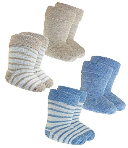 EveryKid Ewers 4er Pack Babysocken Jungen Socken Sparpack Markensocken Strümpfe traditionell Babys (EW-205083-S18-BJ0-0002-0003-16/17) in Blau-Braun, Größe 16/17 inkl Fashionguide
