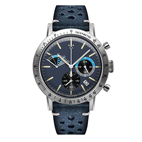 Undone Herren Uhr Chronograph Quarz Hybrid Mechanische Edelstahl Leder Regatta