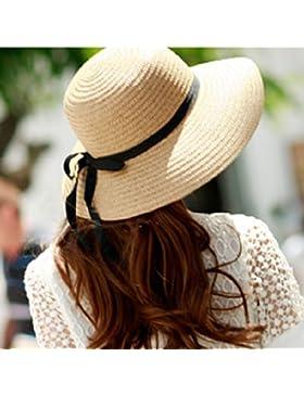 LVLIDAN Sombrero para el sol del verano Lady Anti-Sol Playa Grande lado ancho beige plegable