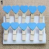 10pcs Mini cœurs en bois Pinces à linge Clips Photo Craft fête de mariage Home Decor Collectsound 10pcs bleu