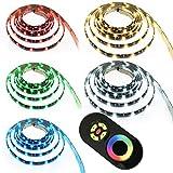 LED RGB Strip Streifen Set - Wasserfest silikonüberzogen -30 LEDs pro Meter mit Touch Fernbedienung Schwarz 15 Meter
