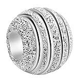 Andante-Stones Original Massiv 925 Sterling Silber Stardust Bead Element Kugel für European Beads + Organzasäckchen