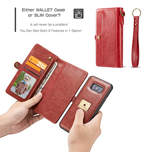 CaseMe Leder Telefon Fall mit Snap Wallet, abnehmbare Folio, versteckte Card Slots, magnetische Ring Halterung iPhone 7 Plus Brown Red