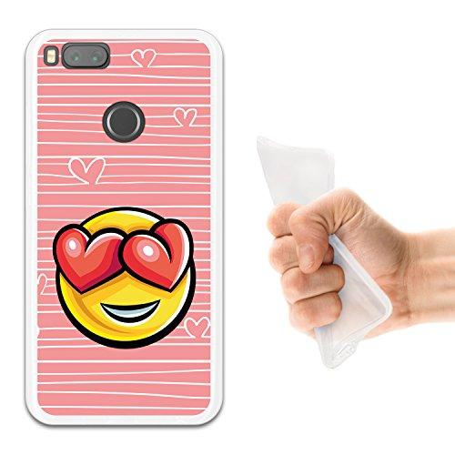WoowCase Xiaomi Mi A1 Hülle, Handyhülle Silikon für [ Xiaomi Mi A1 ] Emoji Emoticon Herzen Liebe Handytasche Handy Cover Case Schutzhülle Flexible TPU - Transparent
