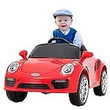 UEnjoy Kinderauto Elektronisch 6V Kinderfahrzeug Elektro mit Fernbedienung, LED Leuchten,Musik für Kinder,Rot