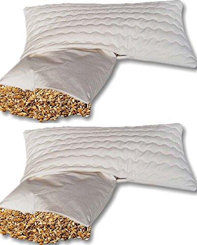 Doppelpack Bio Dinkelkissen Komfort 40*80 cm - staubdichte Baumwoll Kissenhülle ( Kissen-Inlett ) - mit BIO Dinkelspelz Füllung und abnehmbarem waschbarem Bezug aus Baumwolle mit Reißverschluss