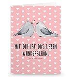 Mr. & Mrs. Panda Grußkarte Turteltauben Liebe - 100% handmade in Norddeutschland - Grusskarte, Liebesbeweis, Karton, Einladung, Klappkarte, Verliebt, Hochzeitstag, Geschenk Freund, Geschenk Hochzeit, Turteltauben, Papier, Verheiratet