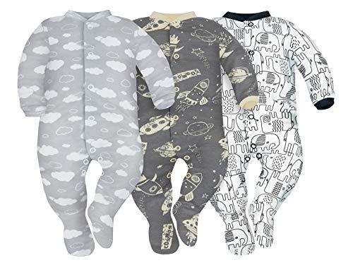 SIBINULO Jungen Mädchen Schlafstrampler mit ABS 3er Pack Wolken, Kosmos und Schwarze Elefanten 80(9-12 Monate)