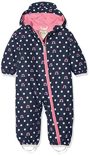 Hatley Hatley Mädchen Regenjacke Baby Microfiber Rain Bundlers, Blau (Dots & Rainbows), 9-12 Monate