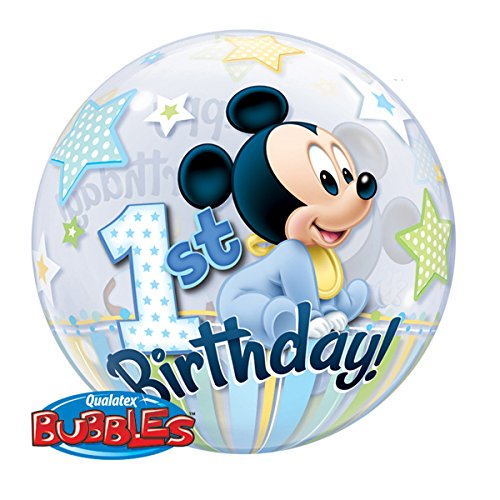 Qualatex 12864 Single Bubble Disney Mickey Maus ersten Geburtstag Latex Ballon, 22