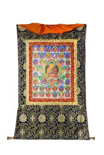 Thangka 35 Buddhas, in Brokat, ca. 107 x 64 cm
