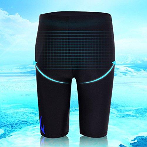 Panegy Herren Schwimm Hose Atmungsaktive Spandex Dacron Badehosen Shorts Hälfte Badehose Feuer Gelümt Männer Badeshorts Elastische Schwimmhose (Größe/Farbe Wählbar) Blau