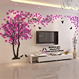 3D Riesige Paar Baum DIY Wandaufkleber Kristall Acryl Wandtattoos Wandmalereien Kinderzimmer Wohnzimmer Schlafzimmer TV Hintergrund Home Dekorationen Kunst (Pink-Links, XL)
