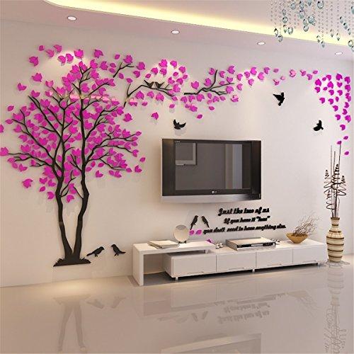 3D Riesige Paar Baum DIY Wandaufkleber Kristall Acryl Wandtattoos Wandmalereien Kinderzimmer Wohnzimmer Schlafzimmer TV Hintergrund Home...