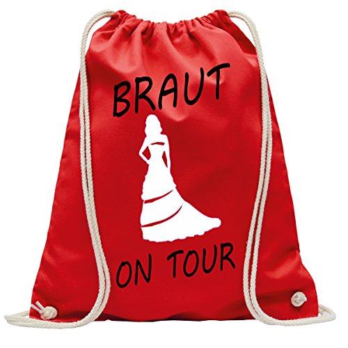 Junggesellinnenabschied Braut on Tour JGA | Handtasche | Turnbeutel | Rucksack | Hipster Turn-Beutel |Rucksack-Beutel | Gym-Bag | Tasche | Sport-Beutel | Jute Rot