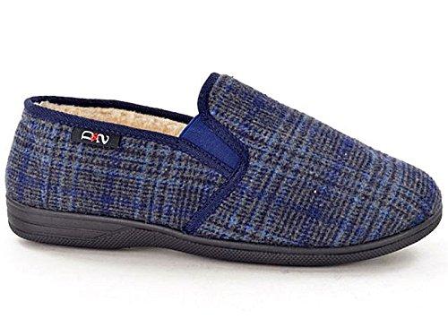 Foster Footwear Pantofole Ragazzi Unisex Adulti Uomo Donna Grey/Blue/Multi