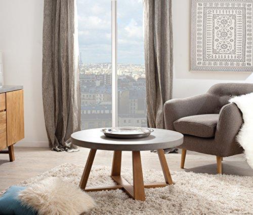 Macabane Table Basse Ronde Chene Clair/Beton, 91 x 91 x 47 cm