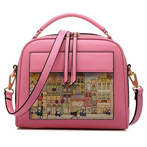 Borsa Donne - TOOGOO(R)Borsa Scarabocchio di moda le donne modello di Donne sacchetto del messaggero a tracolla Borsello Signore Degli Top-sacchetto della maniglia (Rosa) Rosa