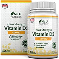 Vitamin D 4000 IU | 365 Softgel Capsules NOT Tablets - Full Year Supply | Easy to Swallow Quadruple Strength Vitamin D3 Supplement | Highly Bioavailable Cholecalciferol | Gluten & Dairy Free