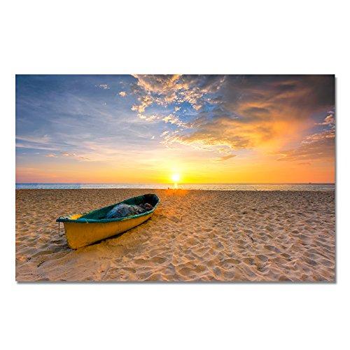 Design Poster Druck auf echtem Fotopapier - Sommer / Sonnenuntergang / Muschel / Strand / Palmen / Wasser, Design:Design 4, Format & Größe:60 x 50 cm | Rahmenformat