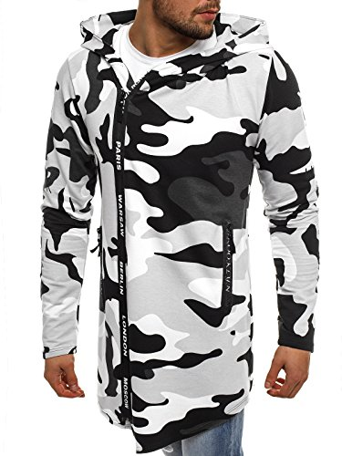 ozonee Felpa con cappuccio da uomo felpa pullover ASSASSINO´s Felpa ATHLETIC 904/10 BIANCO-NERO