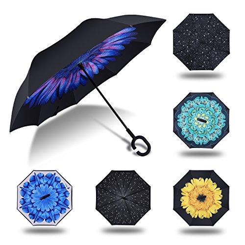 HISEASUN Parapluie Inversé Innovant Anti-UV Double Couche Coupe-Vent Mains Libres poignée en Forme C - Idéal pour Voyage et Voiture(Gouttes bleues)