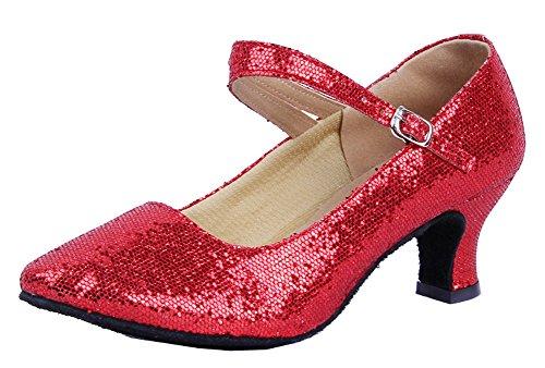 Honeystore Damen's Weicher Boden Mary Jane Glitter Tanzschuhe Rot 39.5 (Schuhe Rot Glitter Jane Mary)