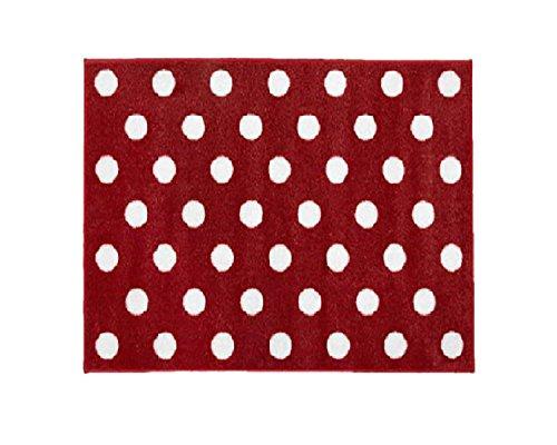 Little Helper Rot mit Weiß Spots Kinderzimmer Teppich, 150 x 100 cm (100 Teppich Roten)