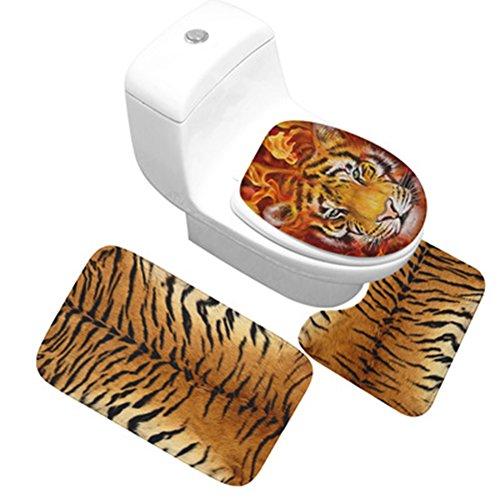 CHEZMAX Lot de 3 antidérapant Paillasson Sol Eau Absorbant et Anti moisissures Flanelle Tapis d'entrée Tapis pour Salle de Bain Toilette Deco – The Tiger Stripes 49,8 x 80 cm