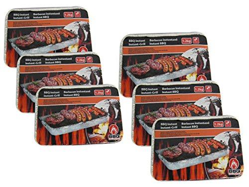 514kOTkekeL - 6 Stück Einweggrill 37 x 24 cm BBQ Holzkohlegrill 1,2kg Picknickgrill Grillkohle Campinggrill