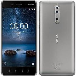 "Nokia 8 Smartphone da 64 GB di Memoria, 5.3"" 2560 x 1440, Android, Acciaio [Italia]"