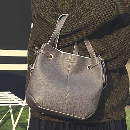 Borsetta In Pelle Artificiale, Moda Donna In Pelle Litchi Stria Borsetta Crossbody Spalla Bag + Pochette Portafoglio by Kangrunmy Grigio scuro